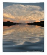 Lake Front Sunset Fleece Blanket