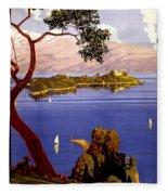Lake Garda Vintage Poster Restored Fleece Blanket