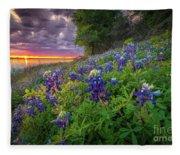 Lake Grapevine Twilight Fleece Blanket