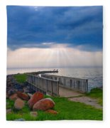 Lake Huron Michigan Fleece Blanket