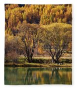 Lake In Autumn - 3 - French Alps Fleece Blanket