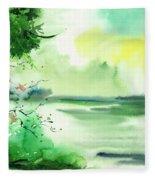 Lake In Clouds Fleece Blanket