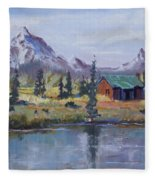 Lake Jenny Cabin Grand Tetons Fleece Blanket