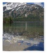 Lake Jenny Grand Tetons Fleece Blanket