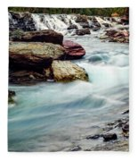 Lake Mcdonald Falls, Glacier National Park, Montana Fleece Blanket