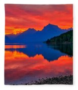 Lake Mcdonald Fiery Sunrise Fleece Blanket