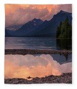 Lake Mcdonald Sunset Fleece Blanket