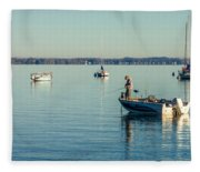 Lake Mendota Fishing Fleece Blanket