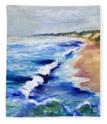 Lake Michigan Beach With Whitecaps Fleece Blanket