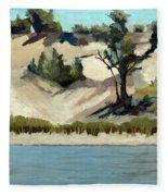 Lake Michigan Dune With Trees And Beach Grass Fleece Blanket