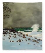 Lake Michigan In The Winter Fleece Blanket