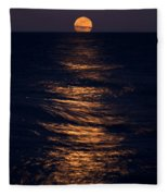 Lake Michigan Moonrise Fleece Blanket
