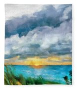Lake Michigan Sunset Fleece Blanket