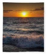 Lake Michigan Sunset With Crashing Shore Waves Fleece Blanket