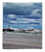 Lake Michigan With Big Wind  Fleece Blanket