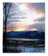 Lake Okanagan Sunset At Vernon Fleece Blanket