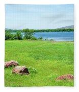 Lake Quanah Parker -  Wichita Mountains - Oklahoma Fleece Blanket