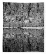 Lake Reflections In Black And White Fleece Blanket