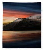 Lake Sunset Snowdonia Fleece Blanket