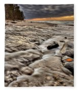 Lake Superior Northern Michigan  Fleece Blanket