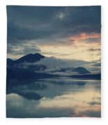 Lake Sylvenstein With Red Sky Fleece Blanket