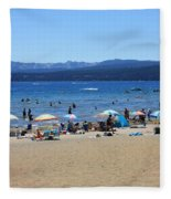 Lake Tahoe Beach Scene Fleece Blanket