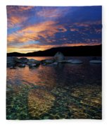 Lake Tahoe Sundown Fleece Blanket