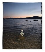 Lake Tahoe Sunset With Rocks And Black Framing Fleece Blanket
