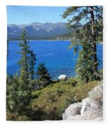Lake Tahoe With Mountains Fleece Blanket