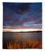 Lake Taupo Sunset Fleece Blanket