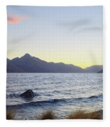Lake Wakatipu At Sunset Fleece Blanket