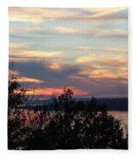 Lakefront Sunset Fleece Blanket