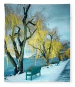 Lakeshore Walkway In Winter Fleece Blanket