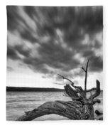 Lakeshore Winter Clouds Fleece Blanket