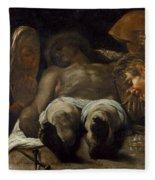 Lamentation Over The Dead Christ Fleece Blanket