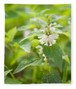 Lamium Album White Flowers Macro Fleece Blanket