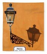 Lamp, Shadow And Burnt Umber Wall, Orvieto, Italy Fleece Blanket