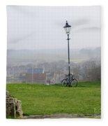 Lamppost And Bike. Fleece Blanket