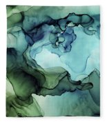 Land And Water Abstract Ink Painting Fleece Blanket