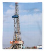 Land Oil Drilling Rig With Equipment On Oilfield Fleece Blanket
