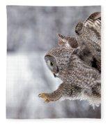 Landing Great Grey Owl Fleece Blanket
