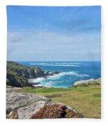 Land's End And Longships Lighthouse Cornwall Fleece Blanket