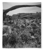 Landscape Arch Bw Fleece Blanket