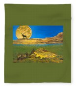 Landscape Art Fish Art Brown Trout Timing Bull Elk Full Moon Nature Contemporary Modern Decor Fleece Blanket