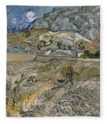 Landscape At Saint Remy Enclosed Field With Peasant Fleece Blanket