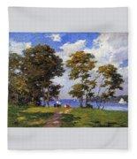 Landscape By The Shore Aka The Picnic Edward Henry Potthast Fleece Blanket