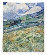 Landscape From Saint Remy At Wheat Fields  Van Gogh Series   By Vincent Van Gogh Fleece Blanket
