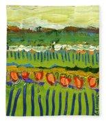 Landscape In Green And Orange Fleece Blanket