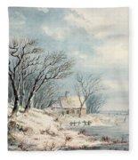 Landscape In Winter Fleece Blanket