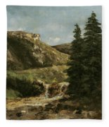 Landscape Near Ornans Fleece Blanket